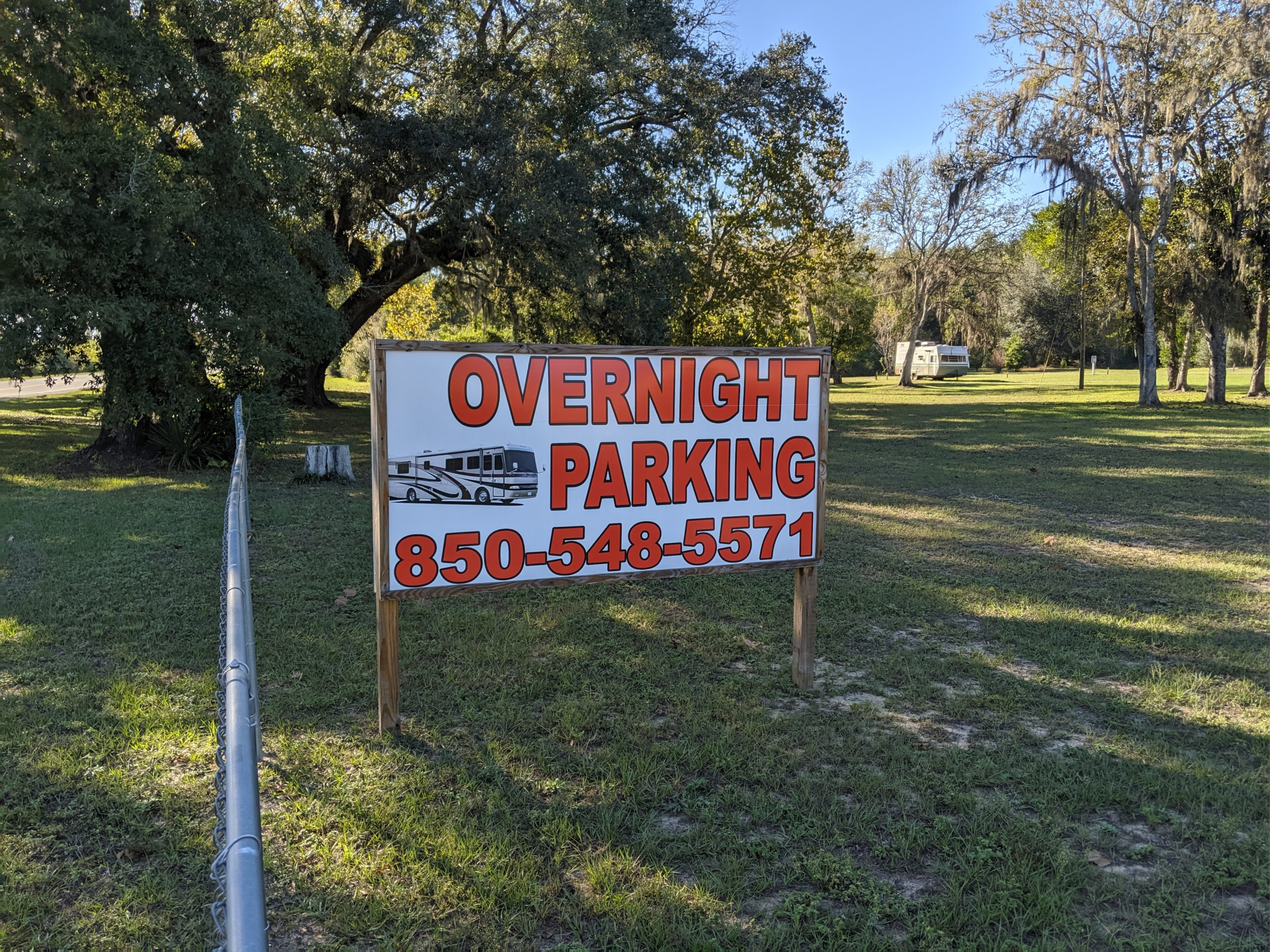 Overnight Parking Available 850-548-5571 for more information